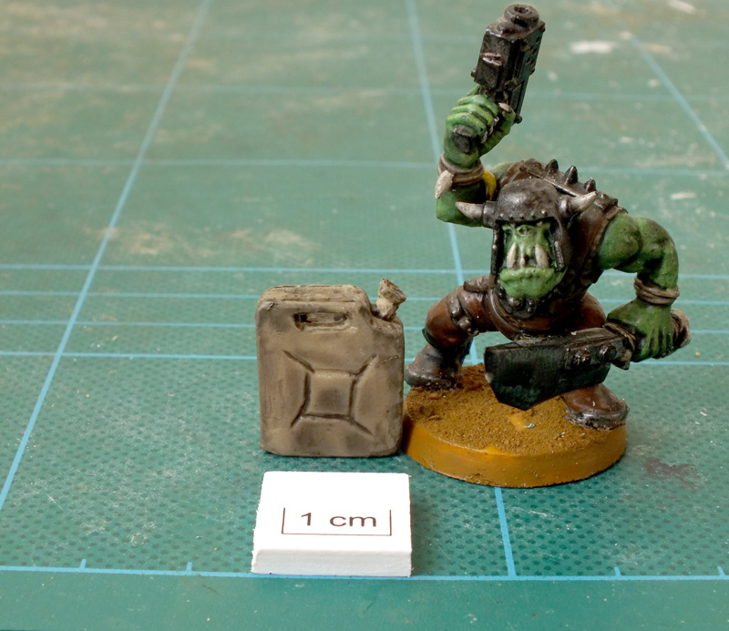 Fox Box Orc Jerrycan with scale and a GW Ork Boy